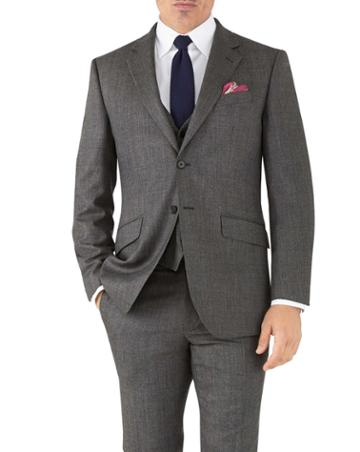 Charles Tyrwhitt Silver Slim Fit Flannel Business Suit Wool Jacket Size 36 By Charles Tyrwhitt