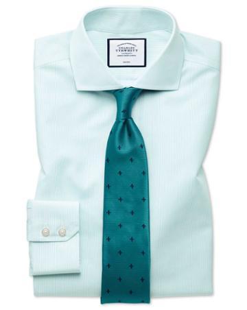 Extra Slim Fit Non-iron Tyrwhitt Cool Poplin Aqua Stripe Cotton Dress Shirt Single Cuff Size 14.5/33 By Charles Tyrwhitt