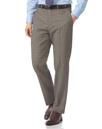 Grey Classic Fit British Prince Of Wales Check Luxury Suit Wool Pants Size W30 L38 By Charles Tyrwhitt