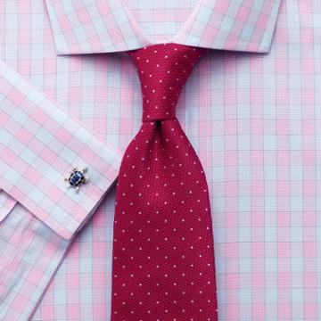 Charles Tyrwhitt Classic Fit Spread Collar City Gingham Pink Cotton Dress Shirt Single Cuff Size 15.5/37 By Charles Tyrwhitt