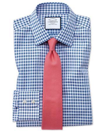 Charles Tyrwhitt Classic Fit Non-iron Gingham Mid Blue Cotton Dress Shirt Single Cuff Size 15.5/34 By Charles Tyrwhitt
