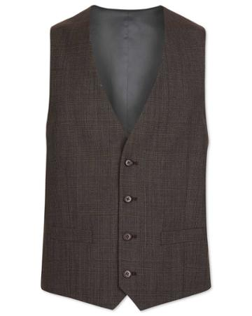 Brown Prince Of Wales Check Adjustable Fit Suit Wool Vest Size W36 By Charles Tyrwhitt