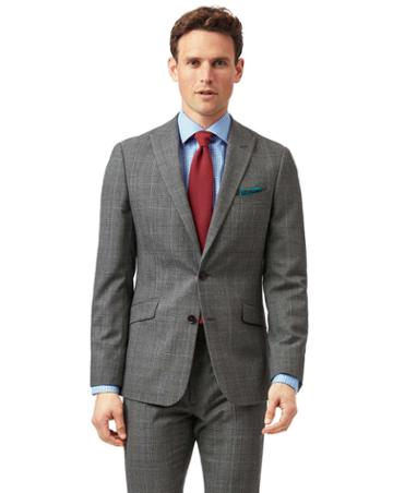Grey With Tan Prince Of Wales Check Extra Slim Fit Suit Wool Jacket Size 34 By Charles Tyrwhitt