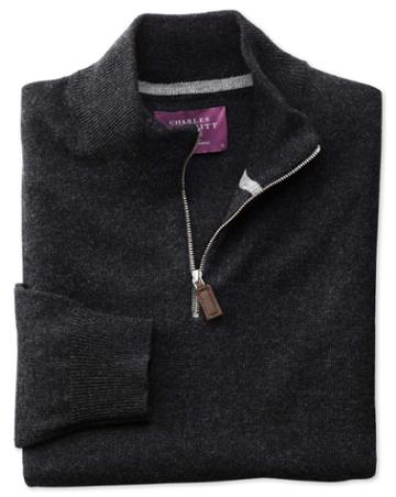 Charles Tyrwhitt Charcoal Cashmere Zip Neck Sweater Size Large By Charles Tyrwhitt