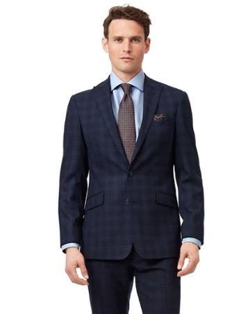 Midnight Blue Check Slim Fit Suit Wool Jacket Size 36 By Charles Tyrwhitt
