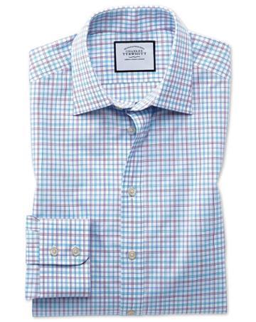 Slim Fit Egyptian Cotton Poplin Check Purple And Aqua Dress Shirt Single Cuff Size 14.5/33 By Charles Tyrwhitt