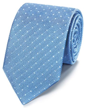 Sky And White Classic Stain Resistant Textured Spot Silk Tie By Charles Tyrwhitt