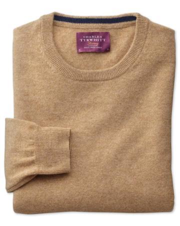 Charles Tyrwhitt Tan Cashmere Crew Neck Sweater Size Large By Charles Tyrwhitt