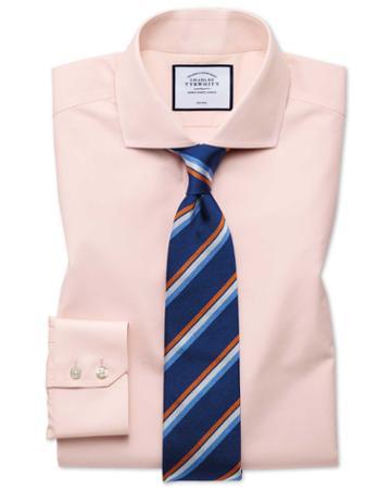 Classic Fit Non-iron Tyrwhitt Cool Poplin Peach Cotton Dress Shirt Single Cuff Size 15.5/34 By Charles Tyrwhitt