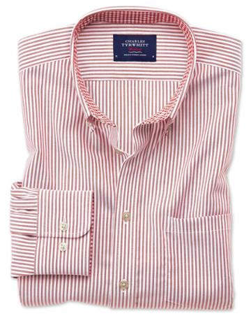 Charles Tyrwhitt Classic Fit Button-down Non-iron Oxford Bengal Stripe Rust Cotton Casual Shirt Single Cuff Size Large By Charles Tyrwhitt