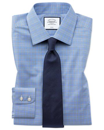 Slim Fit Non-iron Blue And Gold Prince Of Wales Check Cotton Dress Shirt Single Cuff Size 14.5/33 By Charles Tyrwhitt