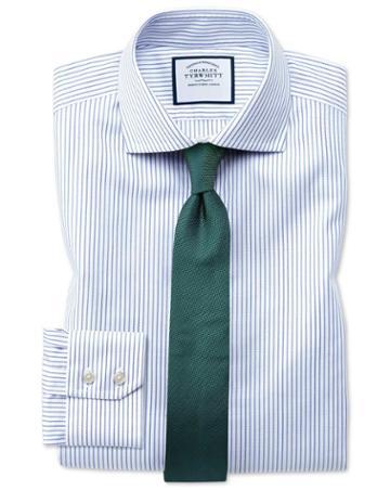 Extra Slim Fit Non-iron Blue Oxford Stretch Cotton Dress Shirt Single Cuff Size 17/35 By Charles Tyrwhitt