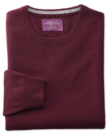 Charles Tyrwhitt Wine Cashmere Crew Neck Sweater Size Large By Charles Tyrwhitt