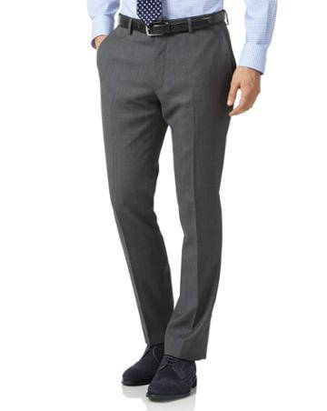 Grey Slim Fit Birdseye Travel Suit Wool Pants Size W30 L38 By Charles Tyrwhitt