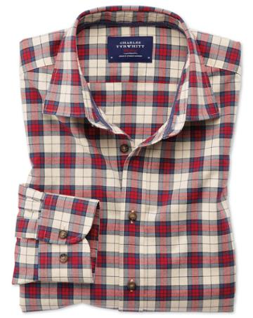 Charles Tyrwhitt Classic Fit Heather Tartan Red Check Cotton Casual Shirt Single Cuff Size Large By Charles Tyrwhitt