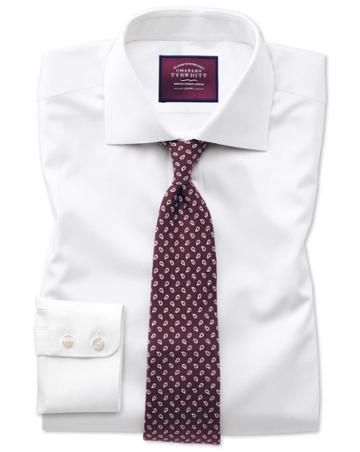 Classic Fit Semi-spread Collar Luxury Twill White Egyptian Cotton Dress Shirt French Cuff Size 15/33 By Charles Tyrwhitt
