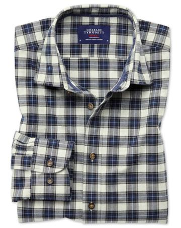 Charles Tyrwhitt Classic Fit Heather Tartan Silver And Blue Check Cotton Casual Shirt Single Cuff Size Large By Charles Tyrwhitt