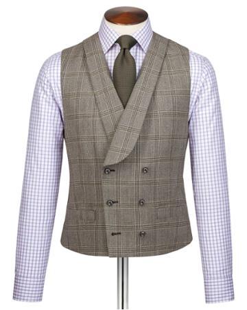 Grey Adjustable Fit British Serge Luxury Suit Wool Vest Size W38 By Charles Tyrwhitt