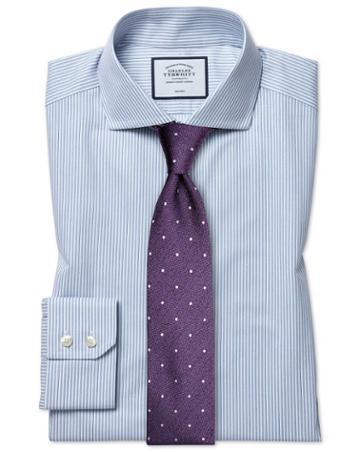 Slim Fit Non-iron Soft Twill Sky Blue Cutaway Cotton Dress Shirt Single Cuff Size 14.5/33 By Charles Tyrwhitt