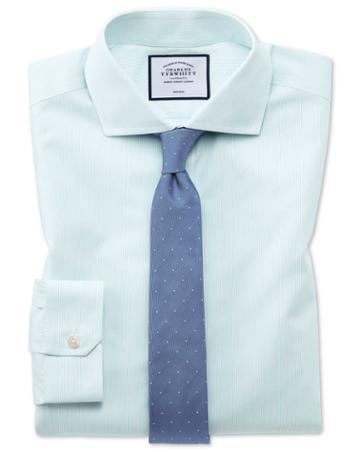 Super Slim Fit Non-iron Tyrwhitt Cool Poplin Aqua Cotton Dress Shirt Single Cuff Size 14.5/32 By Charles Tyrwhitt