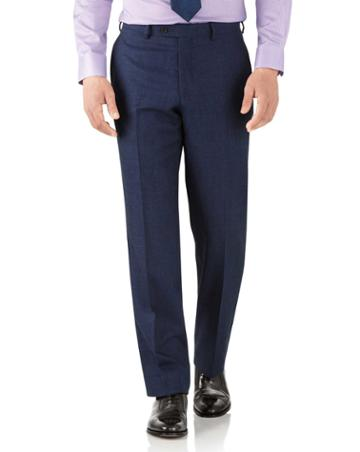 Charles Tyrwhitt Royal Blue Classic Fit Flannel Business Suit Wool Pants Size W32 L30 By Charles Tyrwhitt