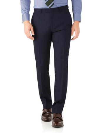 Charles Tyrwhitt Navy Herringbone Classic Fit Italian Suit Wool Pants Size W32 L30 By Charles Tyrwhitt