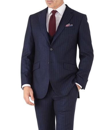 Charles Tyrwhitt Navy Stripe Slim Fit Flannel Business Suit Wool Jacket Size 36 By Charles Tyrwhitt