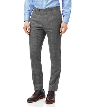 Grey With Tan Prince Of Wales Check Extra Slim Fit Suit Trouser Size W28 L38 By Charles Tyrwhitt