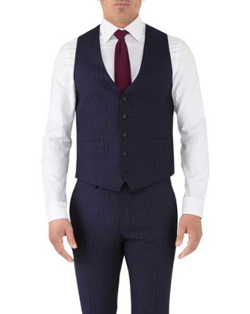 Charles Tyrwhitt Navy Stripe Adjustable Fit Flannel Business Suit Wool Vest Size W38 By Charles Tyrwhitt