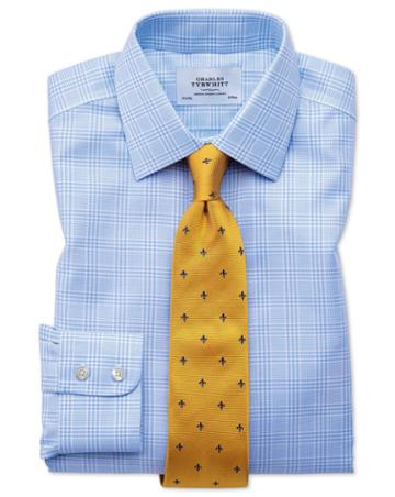 Slim Fit Non-iron Prince Of Wales Sky Blue Cotton Dress Shirt Single Cuff Size 16/33 By Charles Tyrwhitt