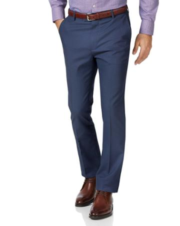 Blue Slim Fit Stretch Non-iron Cotton Tailored Pants Size W30 L30 By Charles Tyrwhitt