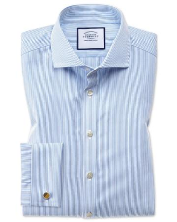 Charles Tyrwhitt Super Slim Fit Spread Collar Non-iron Bengal Stripe Blue Cotton Dress Shirt Single Cuff Size 14.5/32 By Charles Tyrwhitt