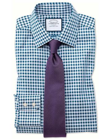 Charles Tyrwhitt Slim Fit Non-iron Gingham Teal Cotton Dress Shirt Single Cuff Size 15/33 By Charles Tyrwhitt