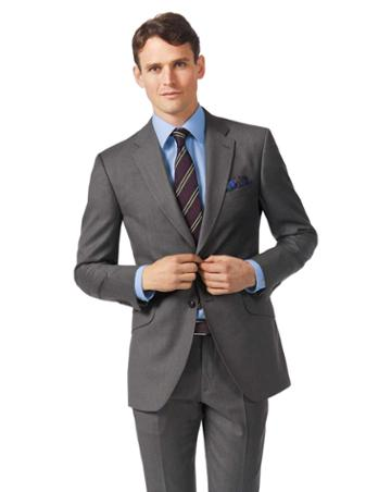 Grey Slim Fit Italian Twill Luxury Suit Wool Jacket Size 36 By Charles Tyrwhitt