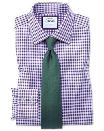 Charles Tyrwhitt Classic Fit Non-iron Gingham Purple Cotton Dress Shirt Single Cuff Size 15.5/34 By Charles Tyrwhitt