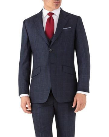Charles Tyrwhitt Blue Prince Of Wales Slim Fit Flannel Business Suit Wool Jacket Size 36 By Charles Tyrwhitt