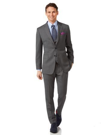 Grey Slim Fit Birdseye Travel Suit Wool Jacket Size 36 By Charles Tyrwhitt