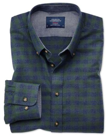 Charles Tyrwhitt Slim Fit Button-down Soft Cotton Green And Blue Check Casual Shirt Single Cuff Size Large By Charles Tyrwhitt