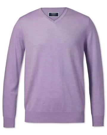 Lilac Merino V-neck Merino Wool Sweater Size Large By Charles Tyrwhitt