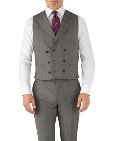 Charles Tyrwhitt Silver Adjustable Fit Italian Luxury Suit Wool Vest Size W42 By Charles Tyrwhitt
