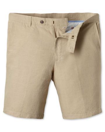 Stone Cotton Linen Shorts Size 30 By Charles Tyrwhitt