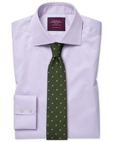 Slim Fit Luxury Twill Lilac Egyptian Cotton Dress Shirt Single Cuff Size 15.5/34 By Charles Tyrwhitt