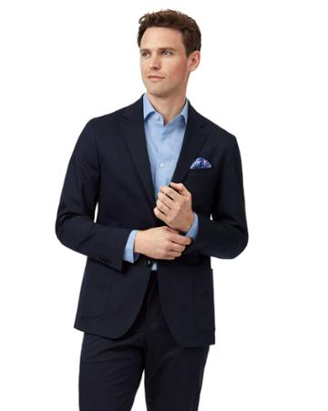 Navy Slim Fit Italian Cotton Suit Jacket By Charles Tyrwhitt
