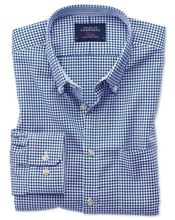 Charles Tyrwhitt Classic Fit Button-down Non-iron Oxford Gingham Royal Blue Cotton Casual Shirt Single Cuff Size Large By Charles Tyrwhitt