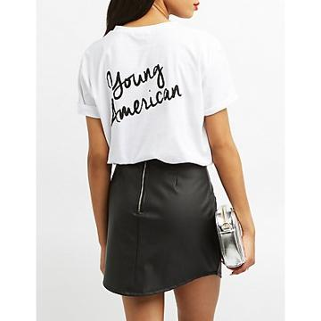 Charlotte Russe Young American Crew-neck Tee