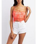 Charlotte Russe Strappy Lace Crop Top
