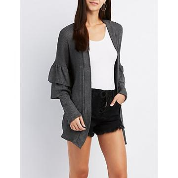 Charlotte Russe Ruffle-trim Open-front Cardigan