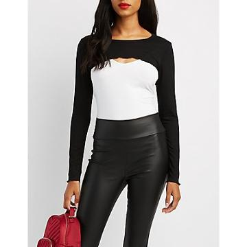 Charlotte Russe Ribbed Extreme Crop Top