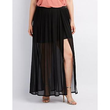 Charlotte Russe Plus Size Tulle Overlay Maxi Skirt