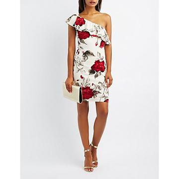 Charlotte Russe Floral Ruffle One-shoulder Dress